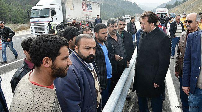 Başkan Erkoç kaza yerinde incelemelerde bulundu