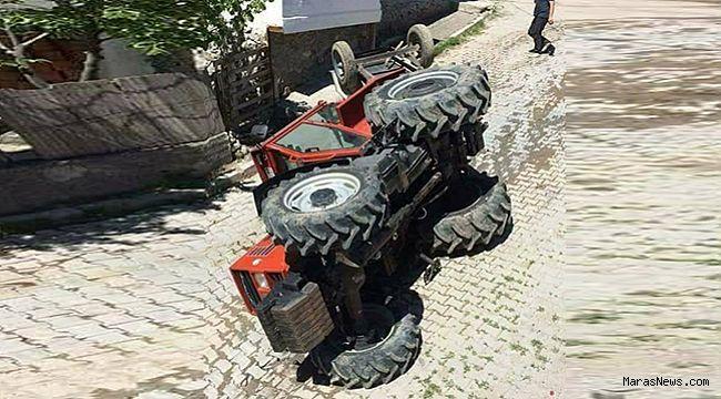 Virajı alamayan traktör devrildi!