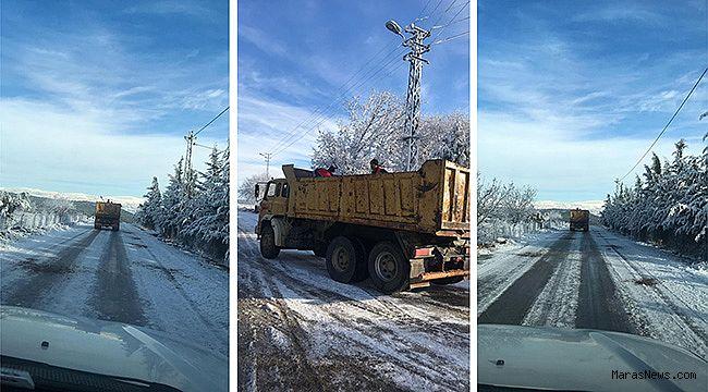 Pazarcık Belediyesi karla mücadeleye devam ediyor
