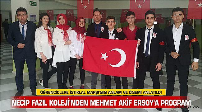 Necip Fazıl Koleji'nden Mehmet Akif Ersoy'a Program
