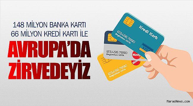 148 Milyon banka kartı 66 milyon kredi kartı ile Avrupa'da zirvedeyiz