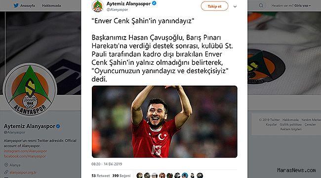 Aytemiz Alanyaspor'dan Enver Cenk Şahin'e destek