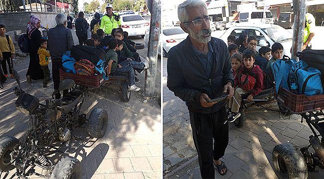 ATV ile öğrenci taşıyan sürücü yakalandı