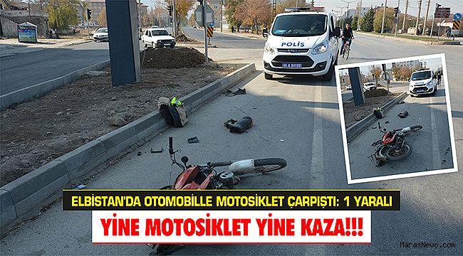 Elbistan'da otomobille motosiklet çarpıştı: 1 yaralı