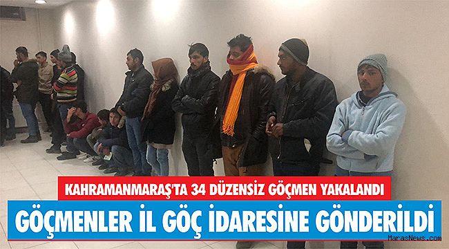 Kahramanmaraş'ta 34 düzensiz göçmen yakalandı