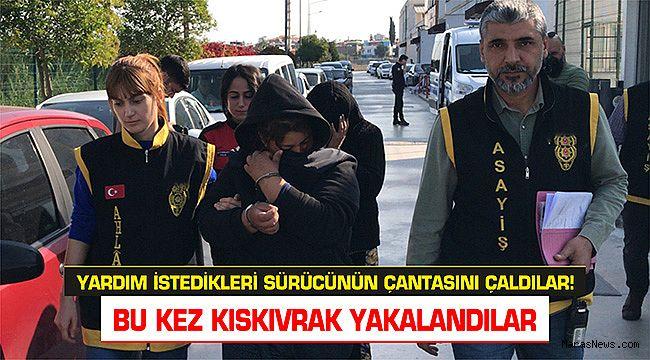 Yardım istedikleri sürücünün çantasını çalan iki kadın yakalandı