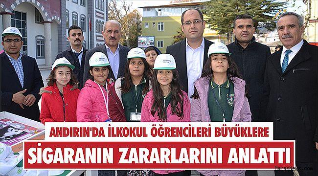 Andırın'da ilkokul öğrencileri büyüklere sigaranın zararlarını anlattı