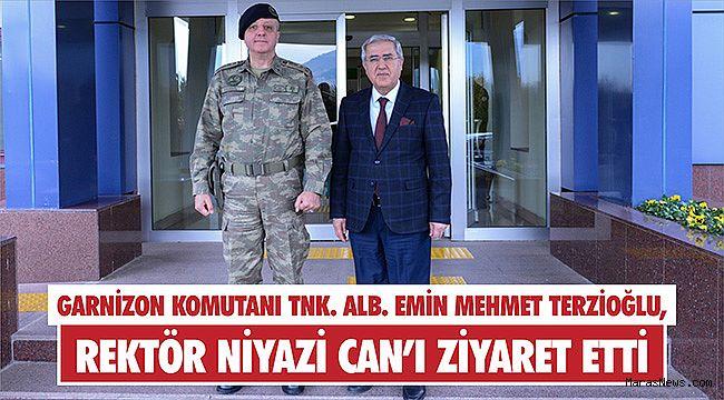 Garnizon Komutanı Tnk. Alb. Emin Mehmet Terzioğlu, Rektör Can'ı ziyaret etti