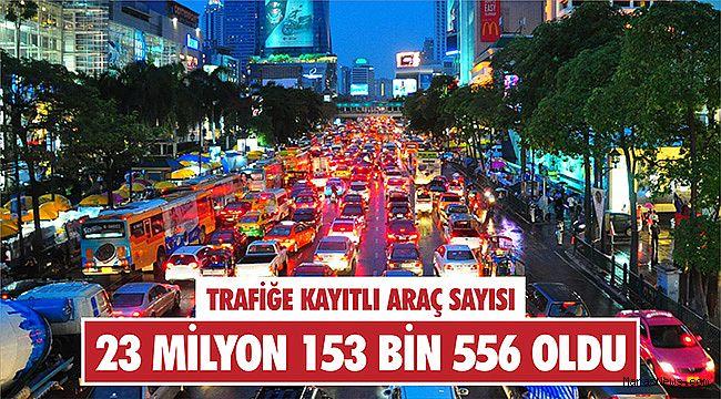Trafiğe kayıtlı araç sayısı 23 milyon 153 bin 556 oldu