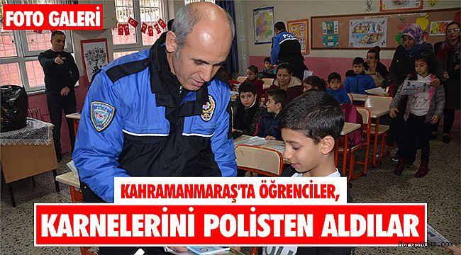 Kahramanmaraş'ta öğrenciler karnelerini polisten aldılar