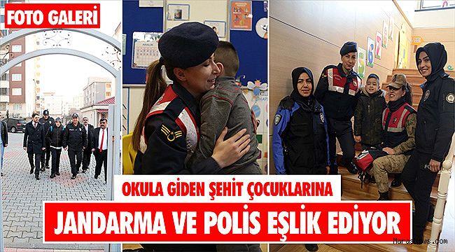 Okula giden şehit çocuklarına jandarma ve polis eşlik ediyor