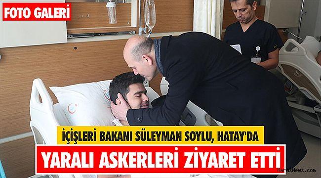 İçişleri Bakanı Süleyman Soylu, Hatay'da yaralı askerleri ziyaret etti