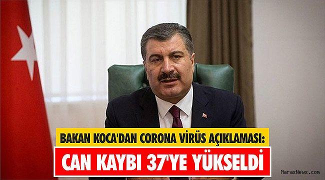 Bakan Koca'dan corona virüs açıklaması: Can kaybı 37'ye yükseldi