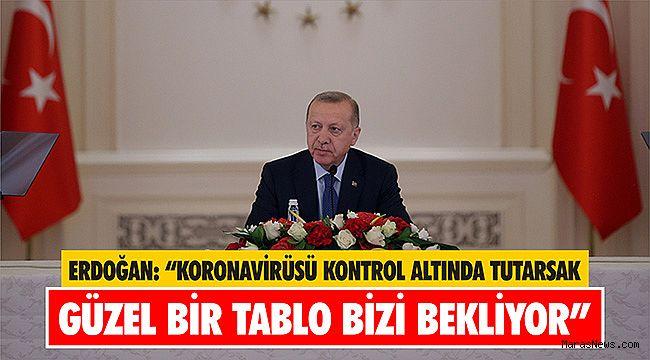 """Cumhurbaşkanı Erdoğan: """"Koronavirüsü kontrol altında tutarsak güzel bir tablo bizi bekliyor"""""""