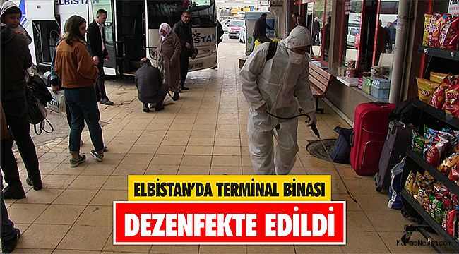 Elbistan'da terminal binası dezenfekte edildi