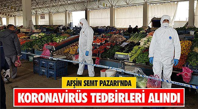 Afşin Semt Pazarı'nda koronavirüs tedbirleri alındı