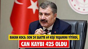 Sağlık Bakanı Koca: Son 24 saatte 69 kişi yaşamını yitirdi, can kaybı 425 oldu