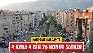 Kahramanmaraş'ta 4 ayda 4 bin 76 konut satıldı