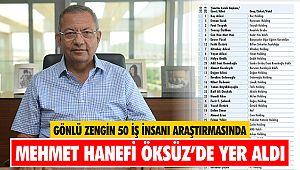 Gönlü Zengin 50 İş İnsanı Araştırmasında Mehmet Hanefi Öksüz'de yer aldı