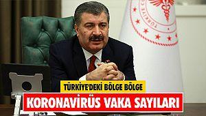 Türkiye'deki bölge bölge koronavirüs vaka sayıları