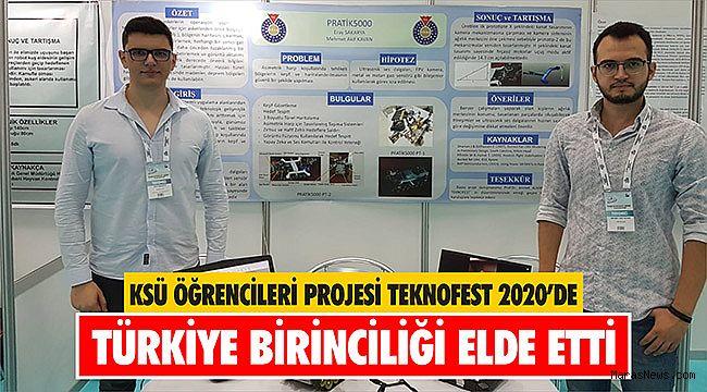 KSÜ Öğrencileri Projesi Teknofest 2020'de Türkiye Birinciliği Elde Etti