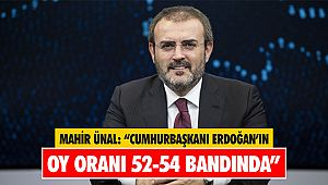"""Mahir Ünal: """"Cumhurbaşkanı Erdoğan'ın oy oranı 52-54 bandında"""""""