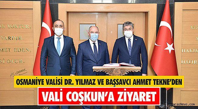 Osmaniye Valisi Dr. Yılmaz ve Başsavcı Ahmet Tekne'den Vali Coşkun'a Ziyaret