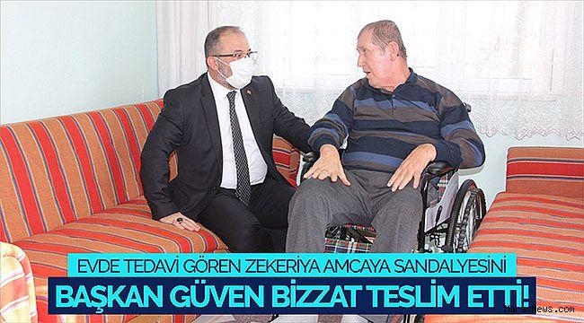 Evde Tedavi gören Zekeriya Amcaya Sandalyesini Başkan Güven bizzat teslim etti!