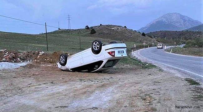 Kahramanmaraş'ta yoldan çıkan otomobil ters öndü